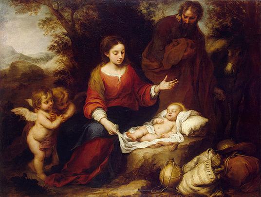 "Bartolomé Esteban Murillo Español. 1617-1682.  Obra: ""Descanso durante la Huida a Egipto""  1665. The State Hermitage Museum. Saint Petersburg, Rusia"
